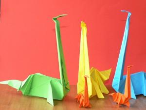оригами динозавр - бронтозавр
