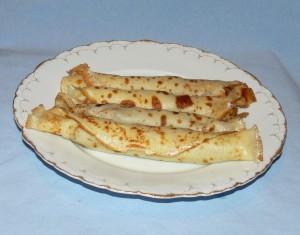 блинчики с печенью и сыром