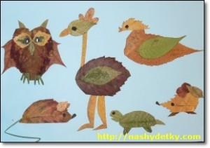 фигурки животных из листьев