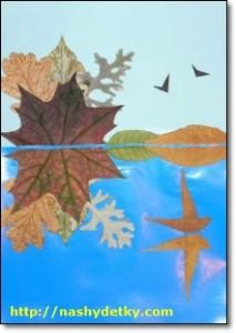 симметричная аппликация из листьев