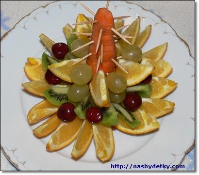 как сделать елку из фруктов