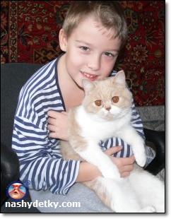 сын с кошкой