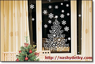 новогодние тарфареты на окна