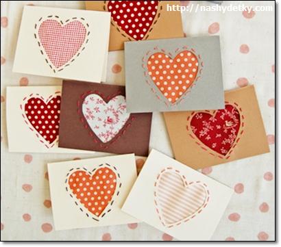 валентинки из картона и ткани